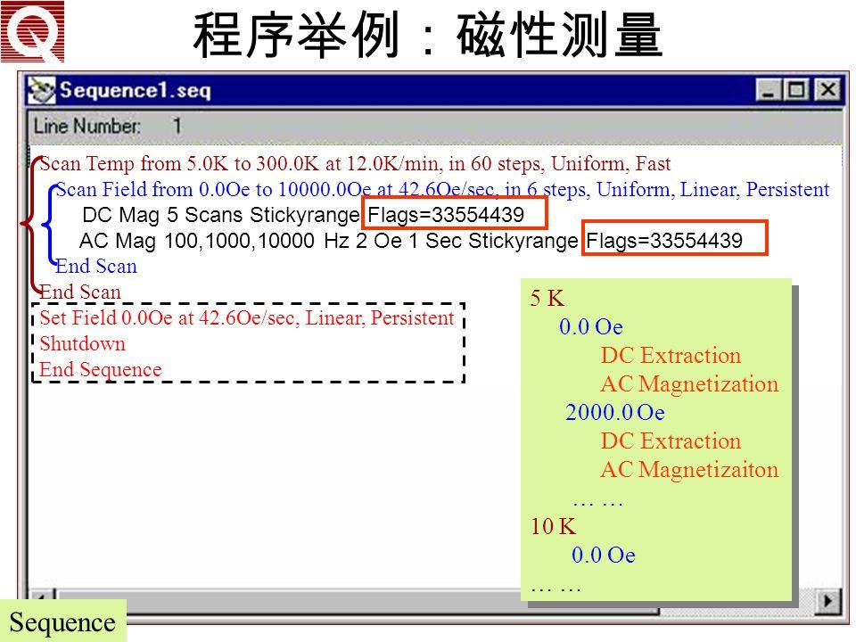程序举例:磁性测量 Sequence 5 K 0.0 Oe DC Extraction AC Magnetization 2000.0 Oe