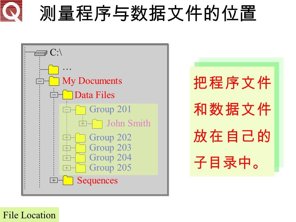 测量程序与数据文件的位置 把程序文件和数据文件放在自己的子目录中。 C:\ … … My Documents Data Files