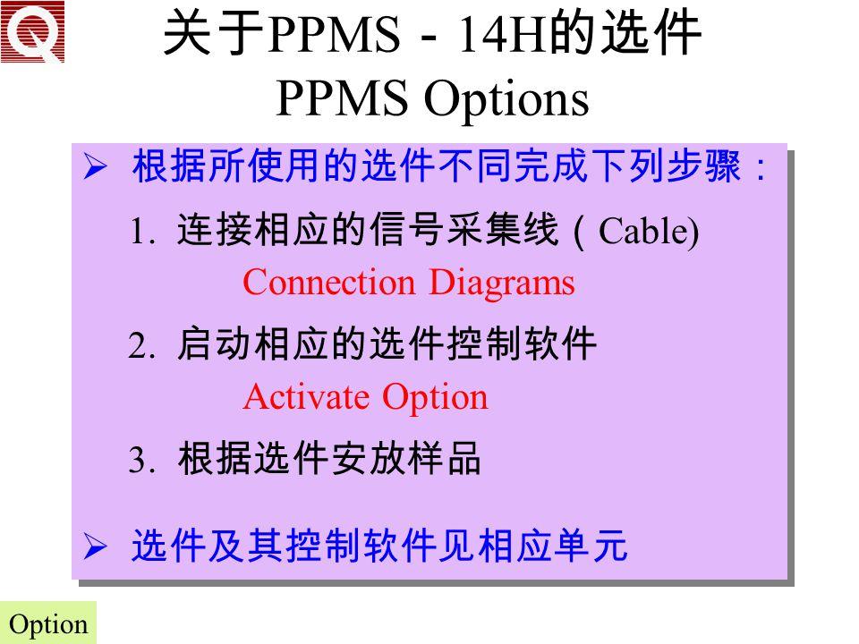 关于PPMS-14H的选件 PPMS Options