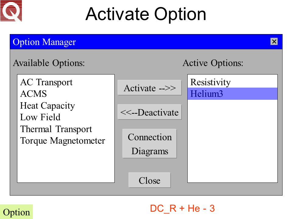 Activate Option Available Options: Active Options: Option Manager