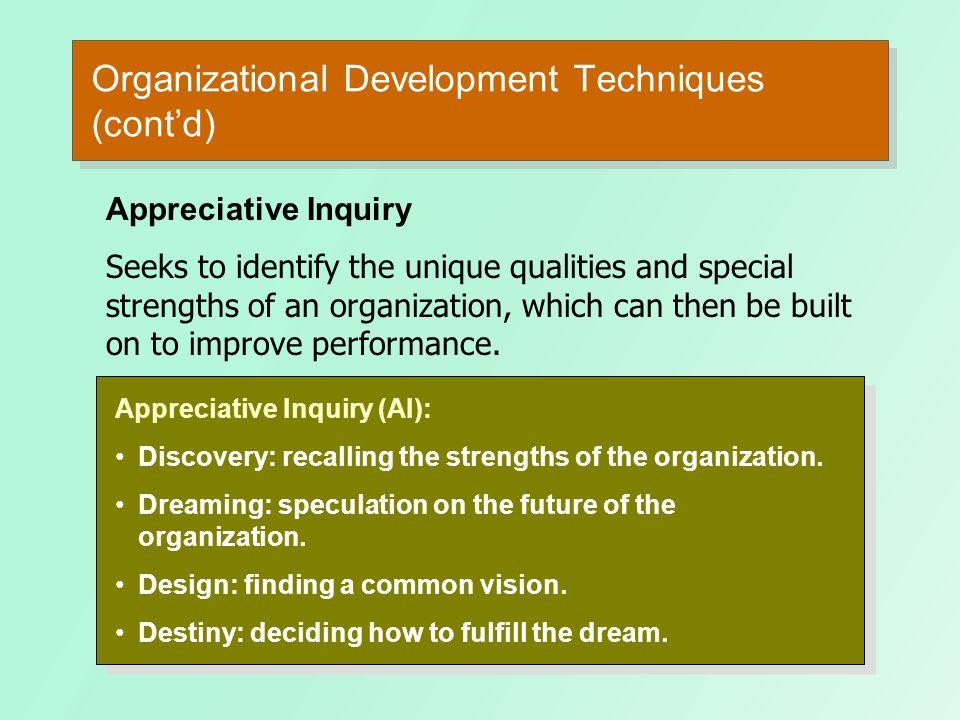 Organizational Development Techniques (cont'd)