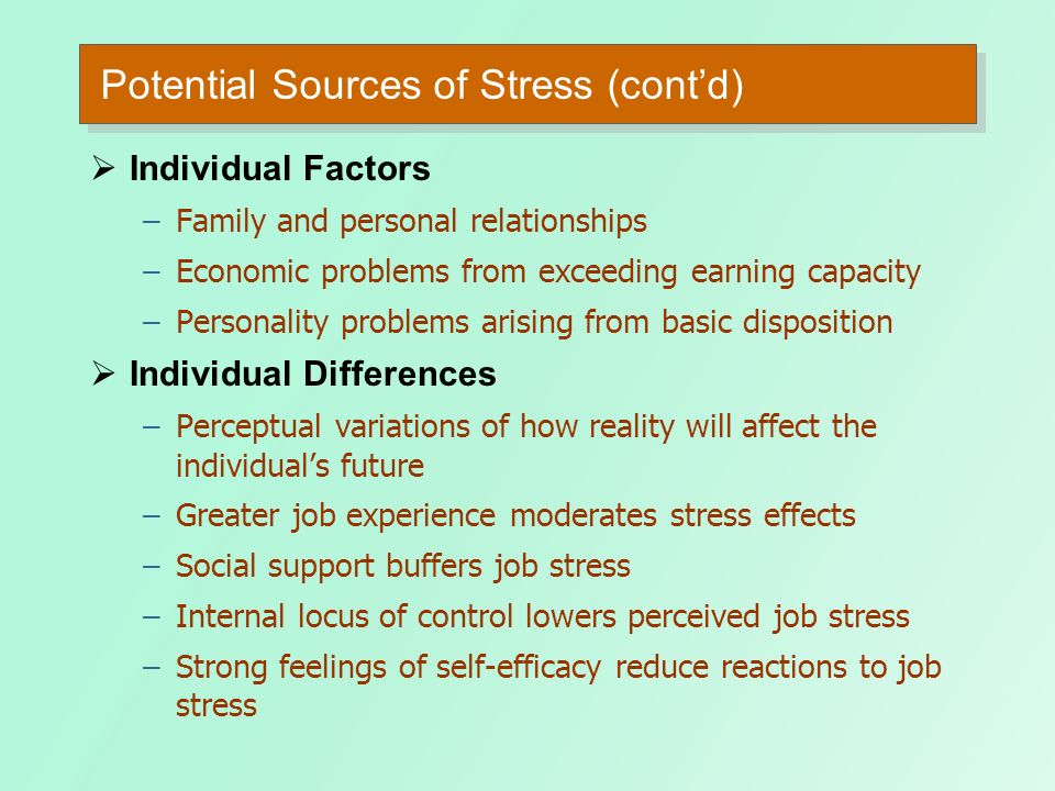 Potential Sources of Stress (cont'd)