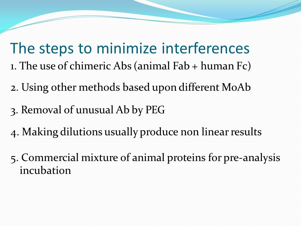 The steps to minimize interferences