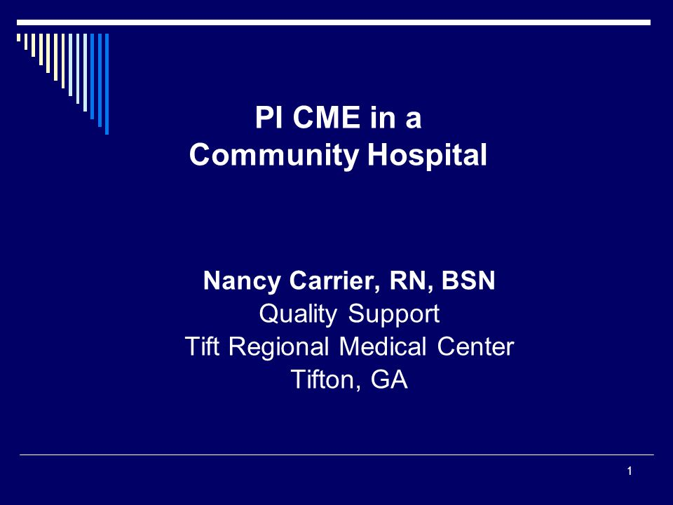 PI CME in a Community Hospital