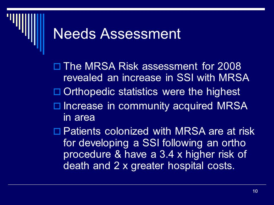 Needs Assessment The MRSA Risk assessment for 2008 revealed an increase in SSI with MRSA. Orthopedic statistics were the highest.