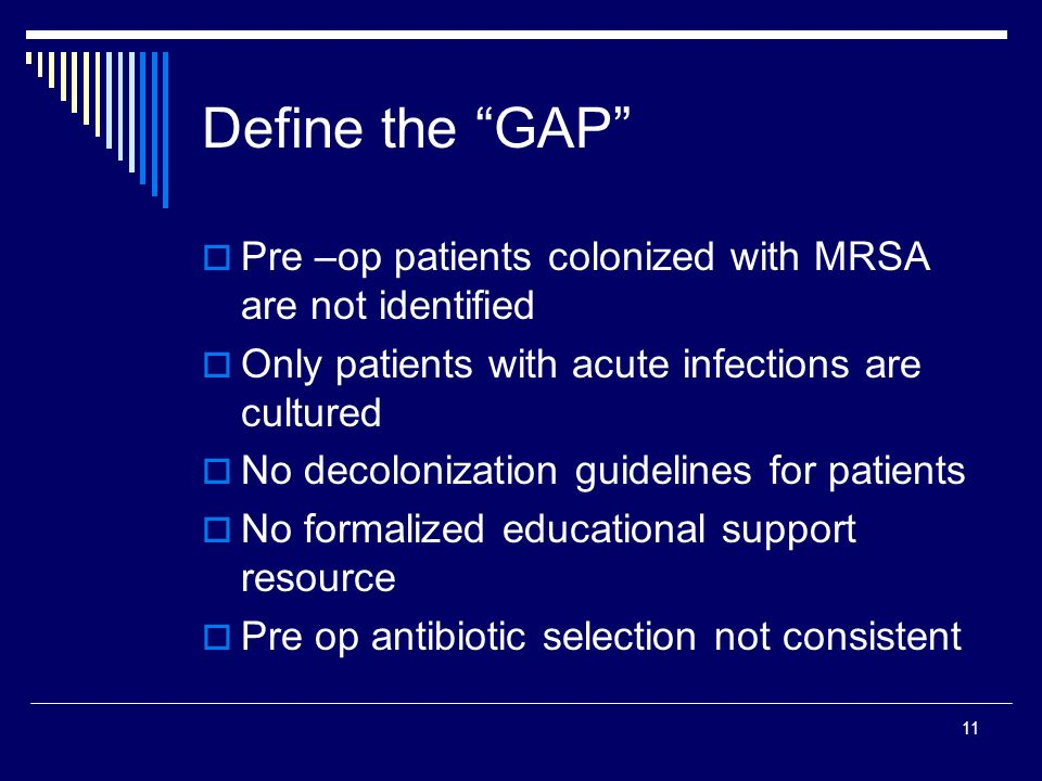 Define the GAP Pre –op patients colonized with MRSA are not identified. Only patients with acute infections are cultured.