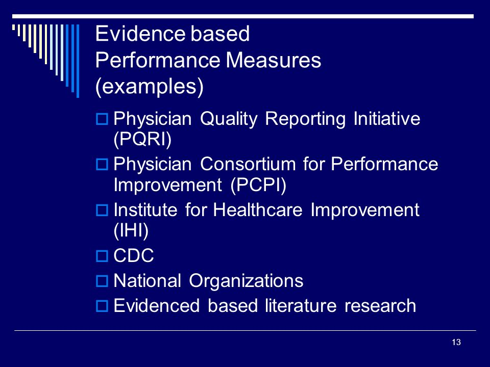 Evidence based Performance Measures (examples)