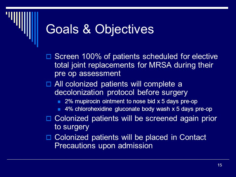 Goals & Objectives Screen 100% of patients scheduled for elective total joint replacements for MRSA during their pre op assessment.