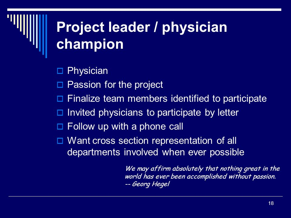 Project leader / physician champion
