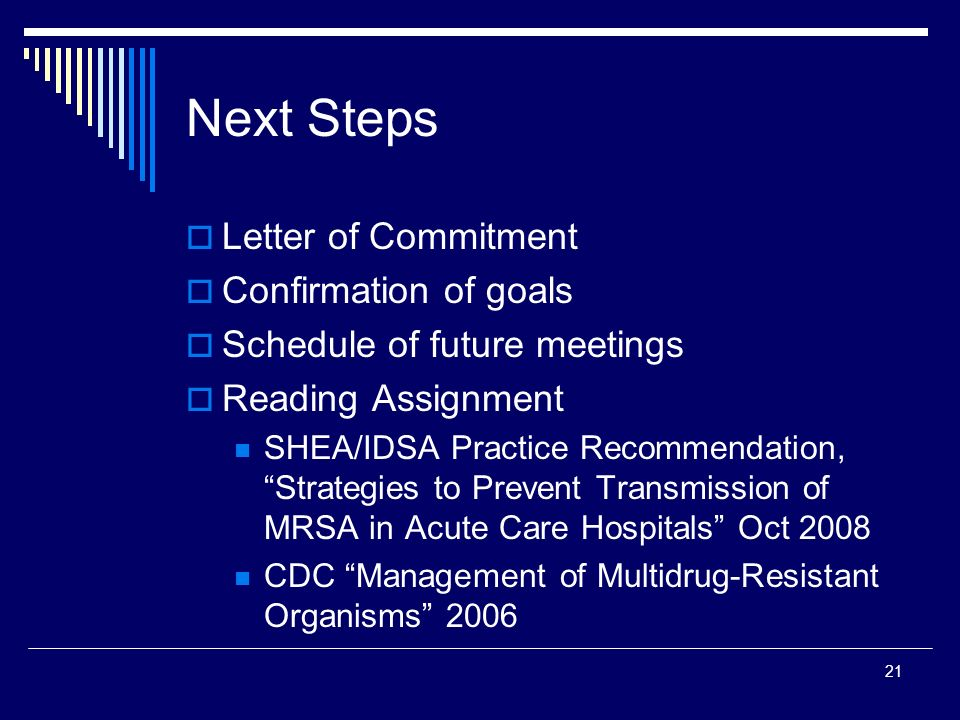 Next Steps Letter of Commitment Confirmation of goals