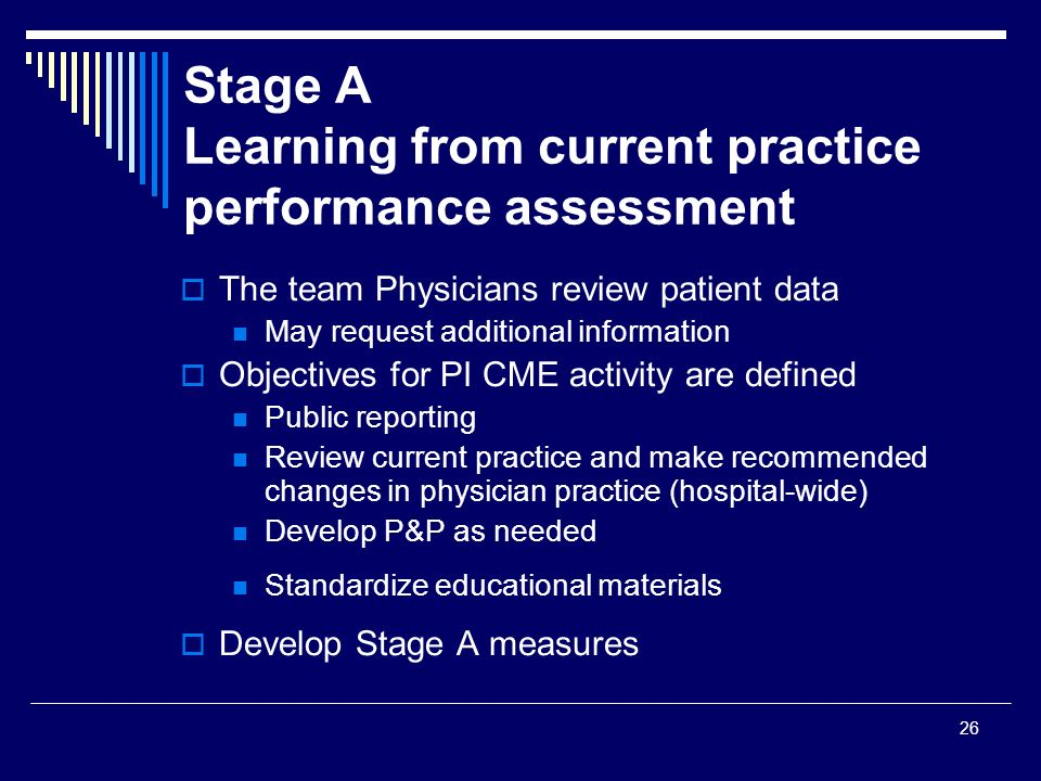 Stage A Learning from current practice performance assessment