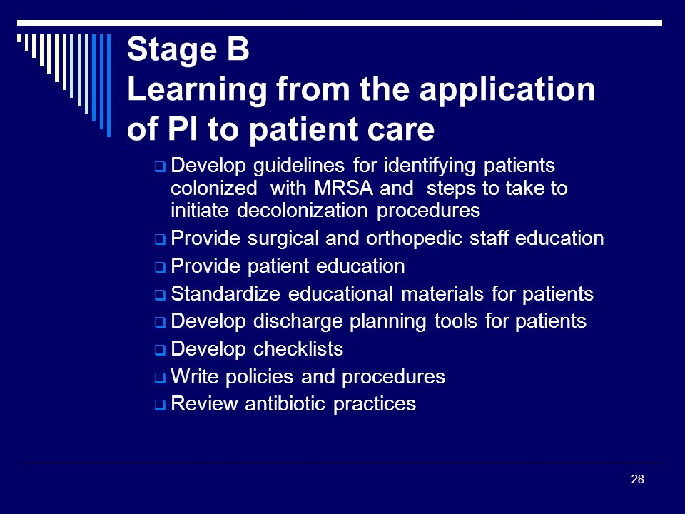 Stage B Learning from the application of PI to patient care