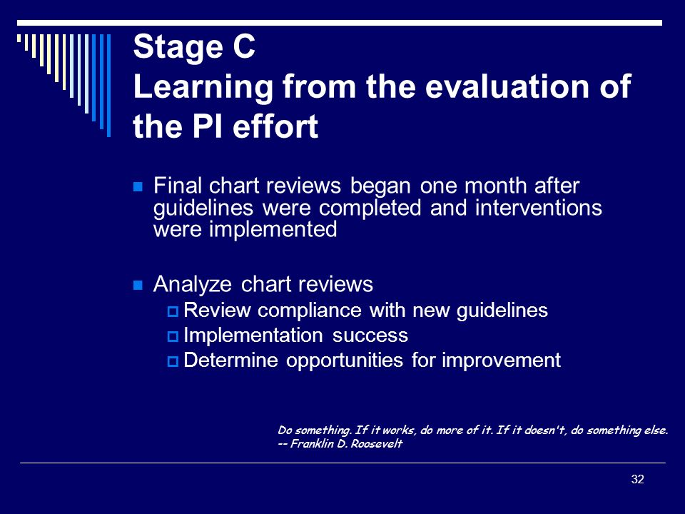 Stage C Learning from the evaluation of the PI effort