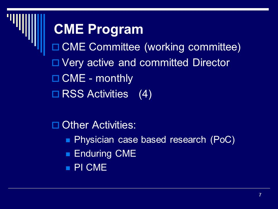 CME Program CME Committee (working committee)