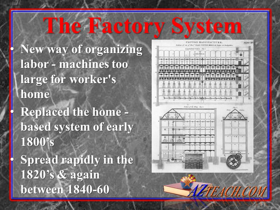 The Factory SystemNew way of organizing labor - machines too large for worker s home. Replaced the home -based system of early 1800's.