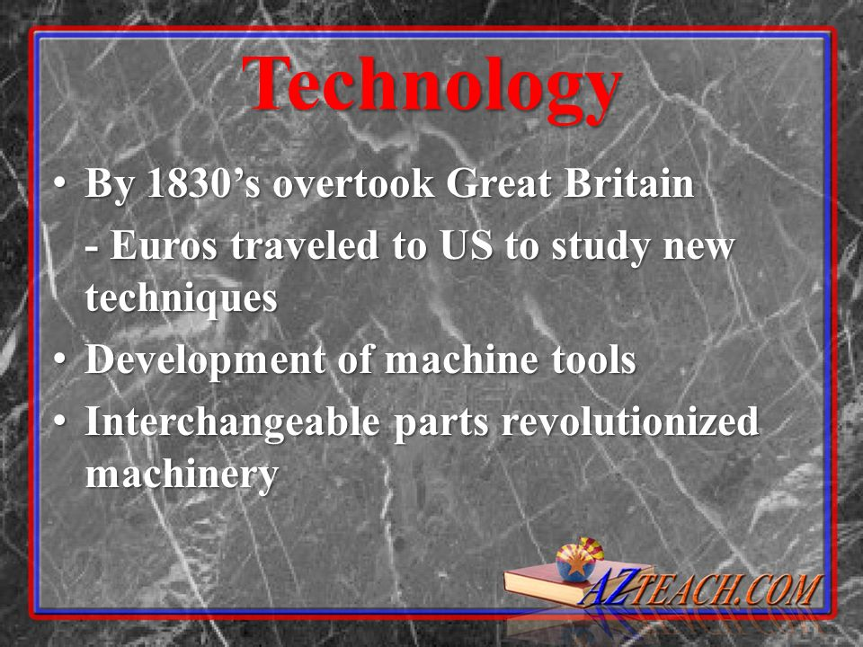 Technology By 1830's overtook Great Britain