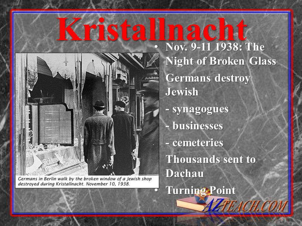 Kristallnacht Nov. 9-11 1938: The Night of Broken Glass