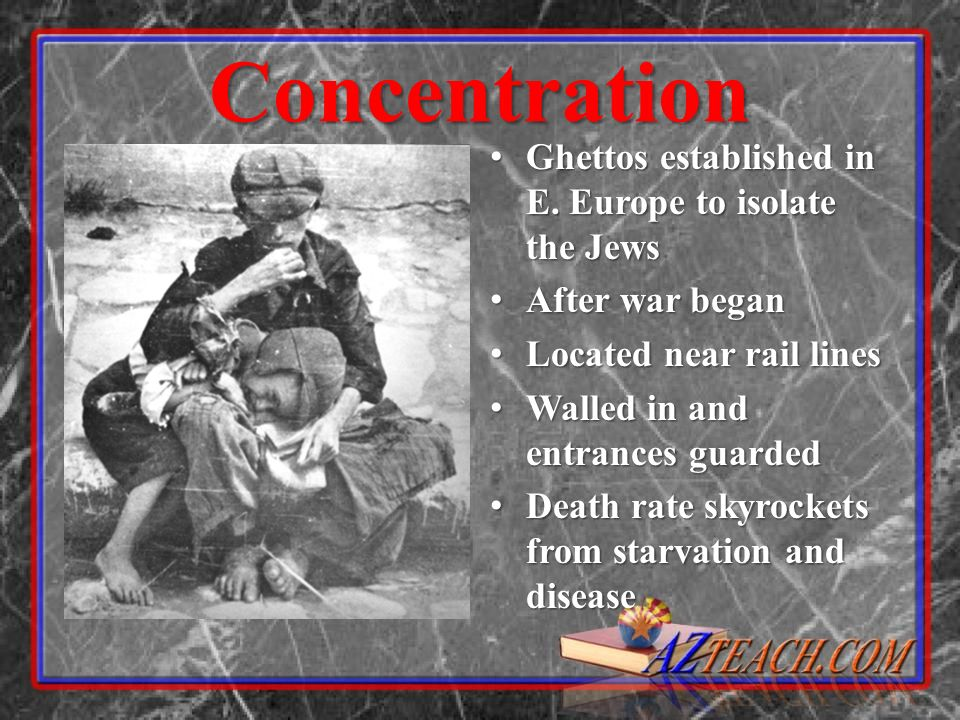 Concentration Ghettos established in E. Europe to isolate the Jews