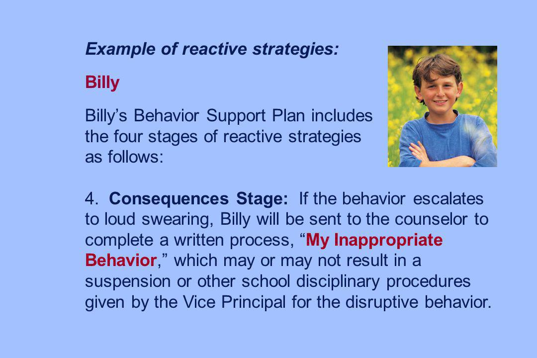Example of reactive strategies:
