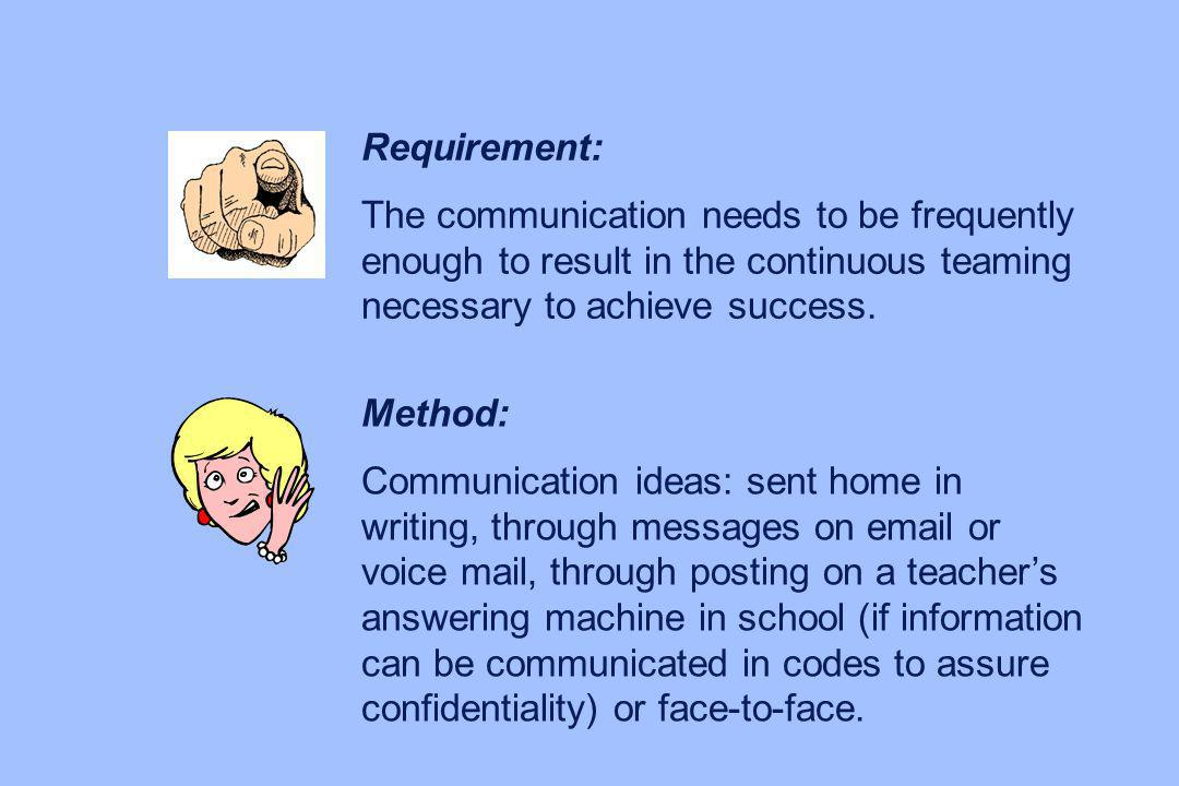 Requirement: The communication needs to be frequently enough to result in the continuous teaming necessary to achieve success.