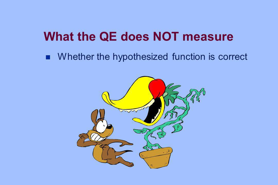 What the QE does NOT measure