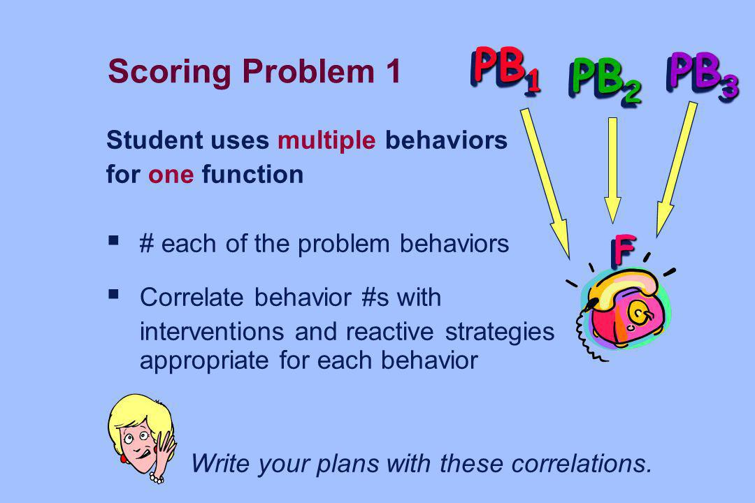 PB1 PB3 PB2 F Scoring Problem 1 Student uses multiple behaviors