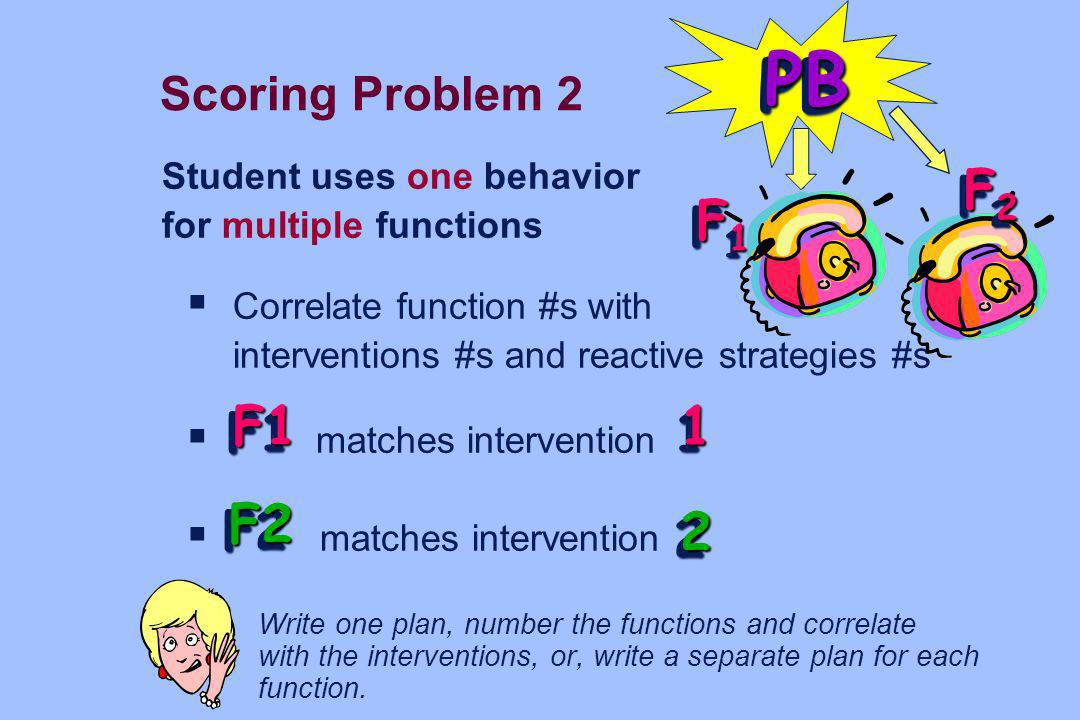 PB F2 F1 F1 1 F2 2 Scoring Problem 2 Student uses one behavior