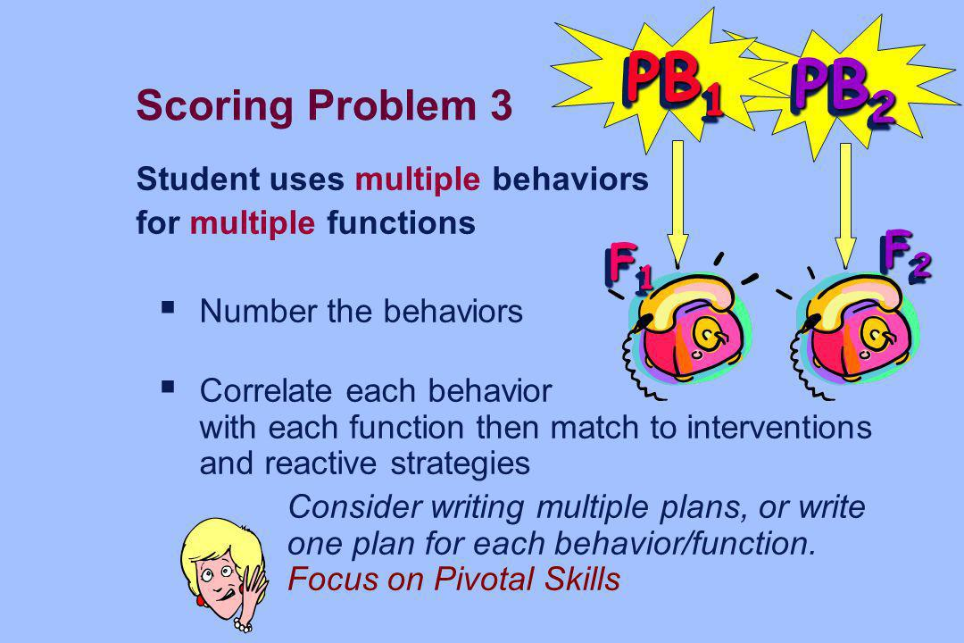 PB1 PB2 F2 F1 Scoring Problem 3 Student uses multiple behaviors