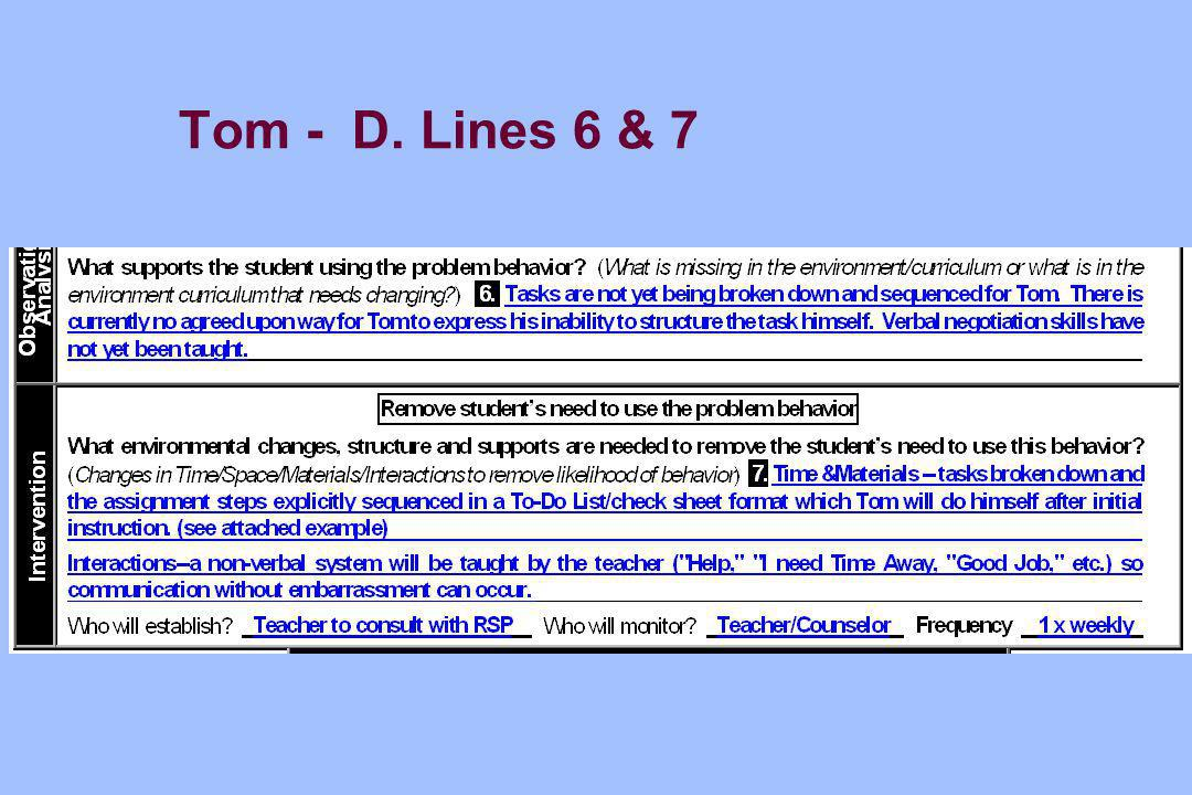Tom - D. Lines 6 & 7