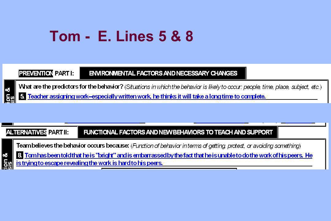 Tom - E. Lines 5 & 8