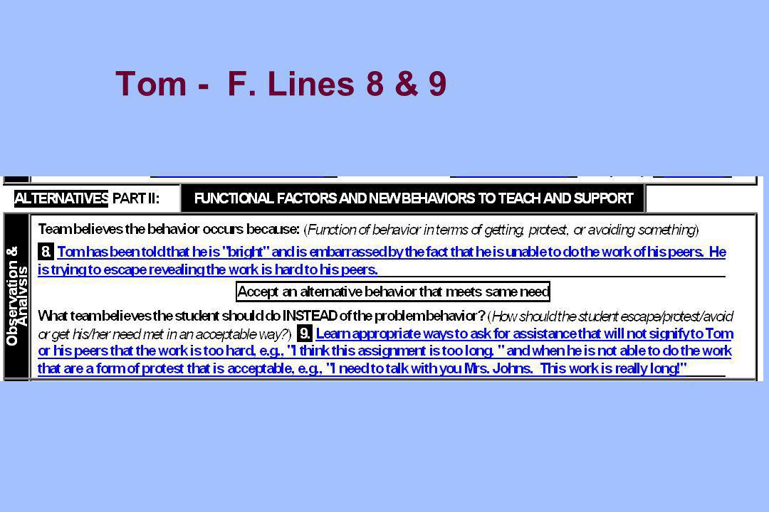 Tom - F. Lines 8 & 9