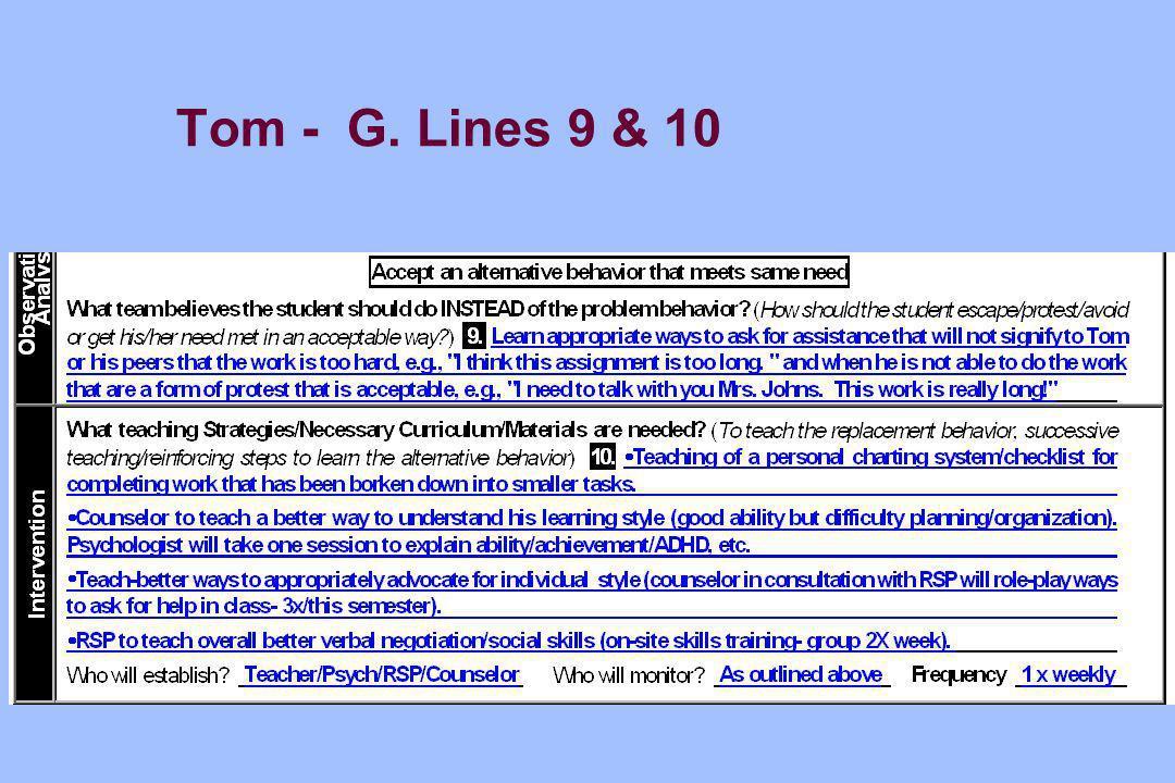 Tom - G. Lines 9 & 10