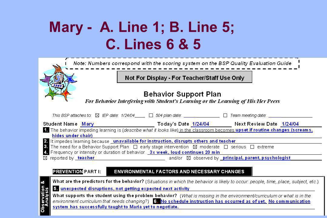 Mary - A. Line 1; B. Line 5; C. Lines 6 & 5