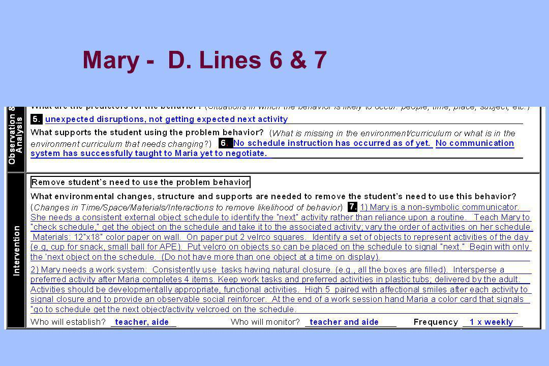 Mary - D. Lines 6 & 7