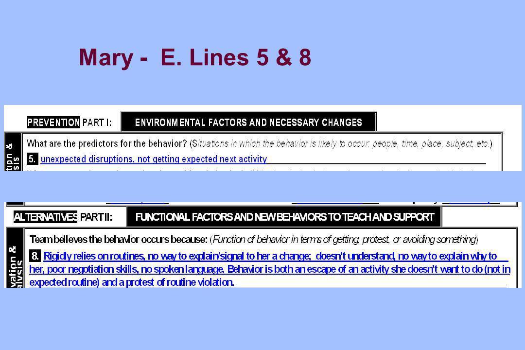 Mary - E. Lines 5 & 8