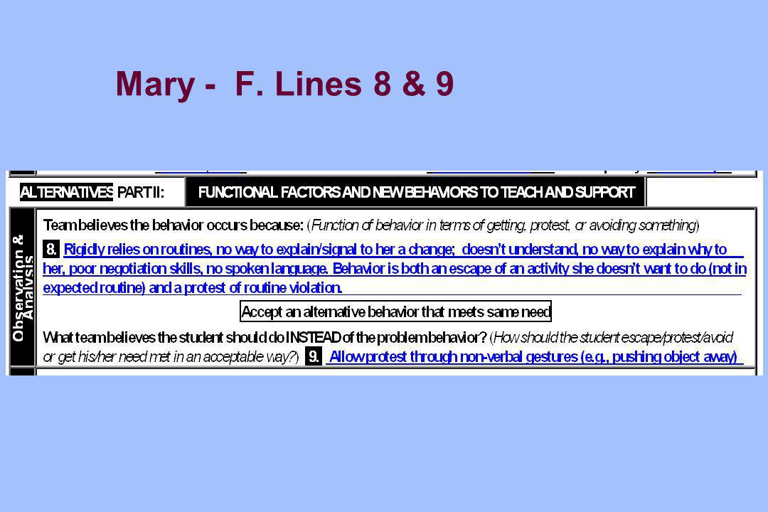 Mary - F. Lines 8 & 9