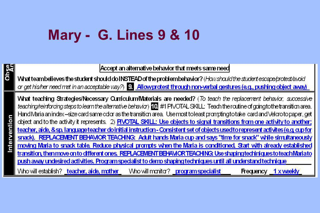 Mary - G. Lines 9 & 10