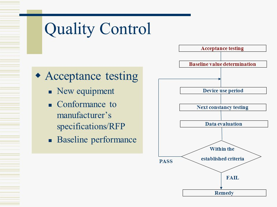 Baseline value determination Next constancy testing
