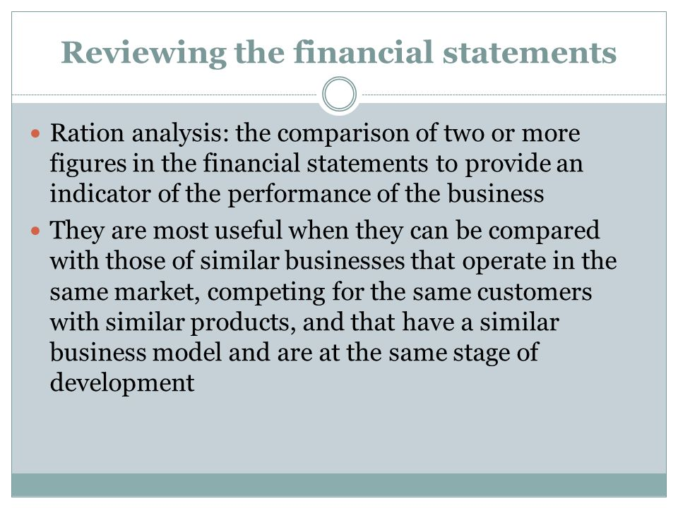 Reviewing the financial statements