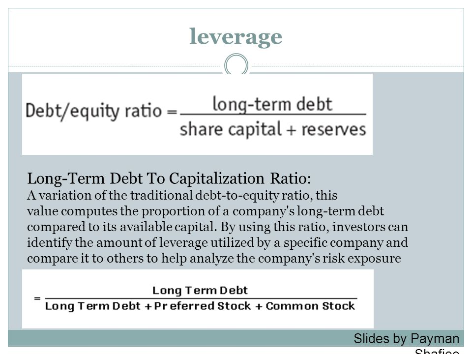 leverage Long-Term Debt To Capitalization Ratio: