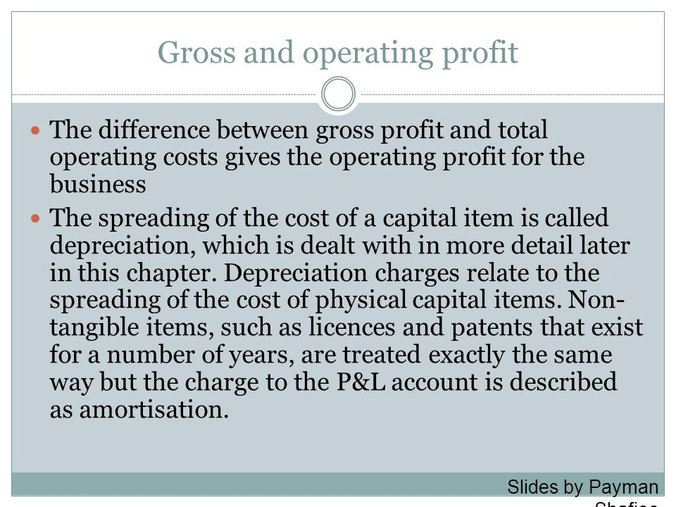 Gross and operating profit