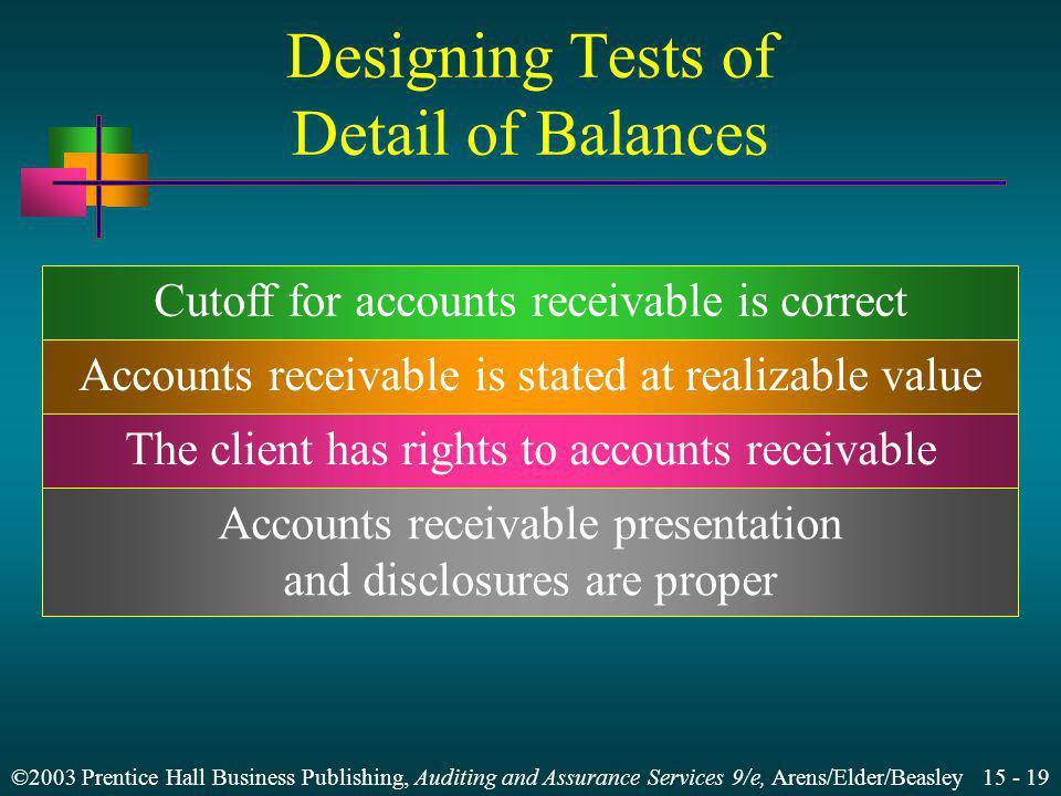 Designing Tests of Detail of Balances