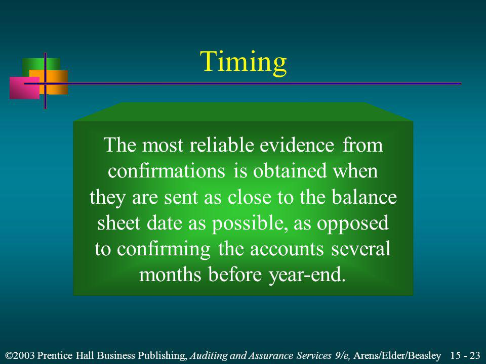 Timing The most reliable evidence from confirmations is obtained when