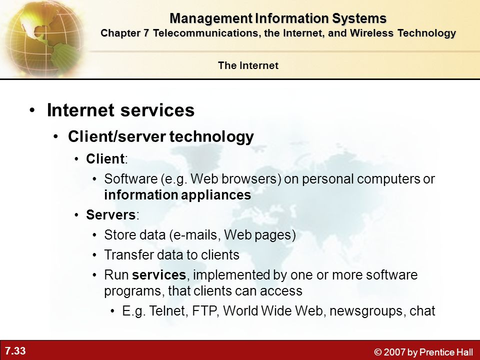 Internet services Client/server technology