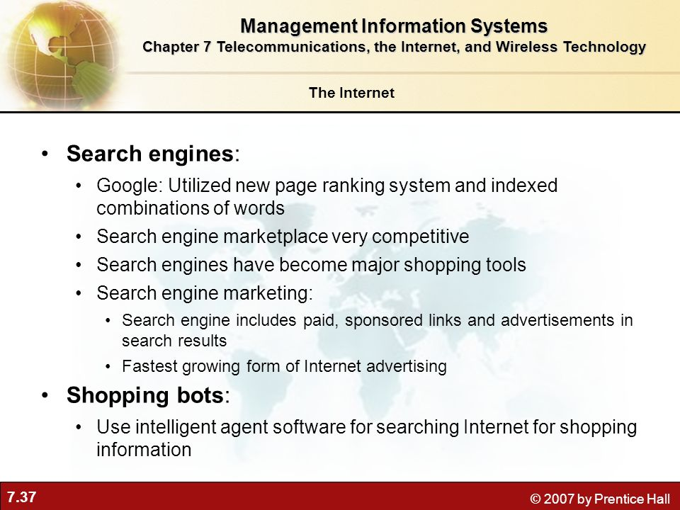 Search engines: Shopping bots: Management Information Systems