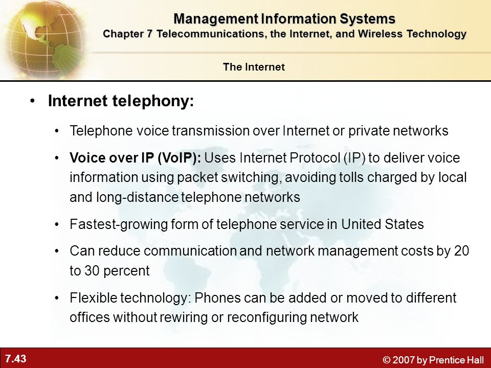 Internet telephony: Management Information Systems