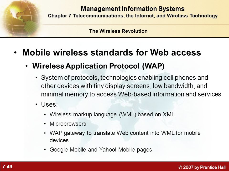 Mobile wireless standards for Web access