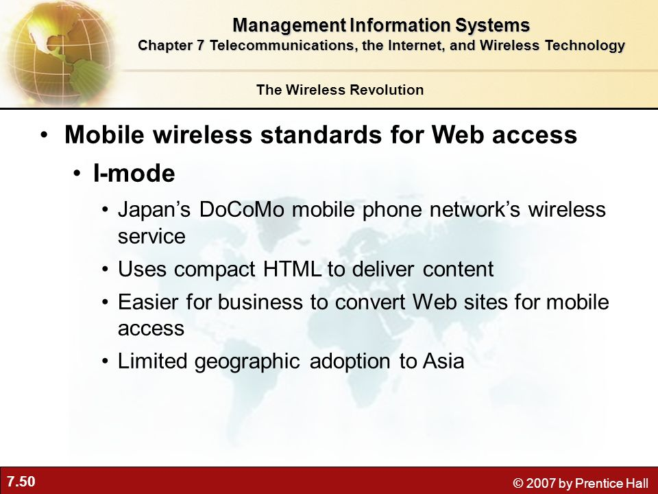 Mobile wireless standards for Web access I-mode