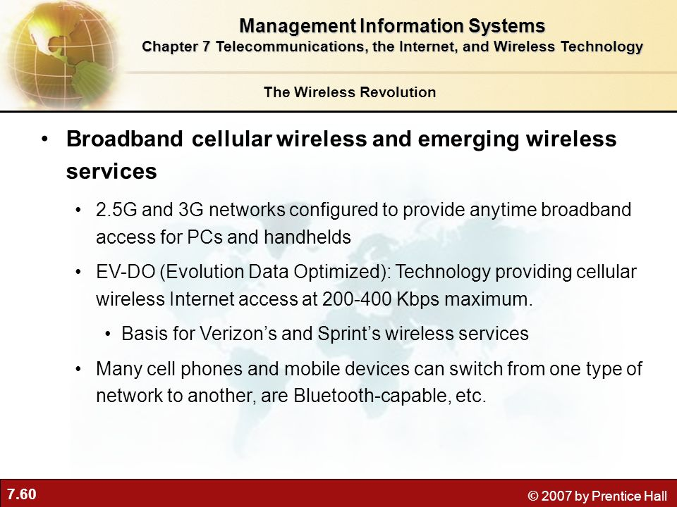 Broadband cellular wireless and emerging wireless services