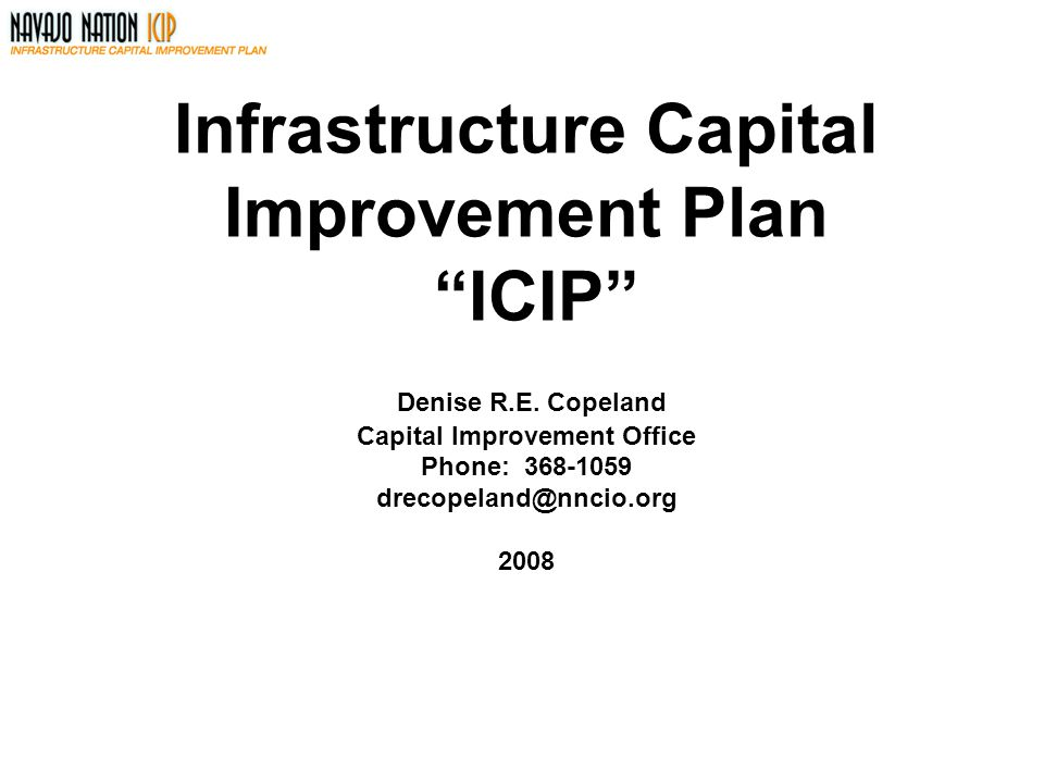 Infrastructure Capital Improvement Plan ICIP Denise R. E